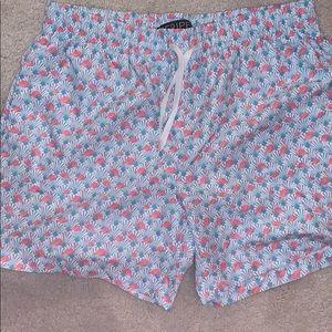 """M-PEX Men's 5.5"""" Inseam Swim Trunks - Flamingos"""